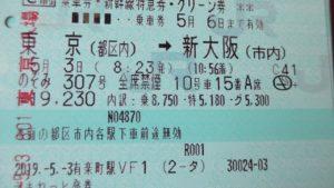 往路の切符は東京から新大阪まで