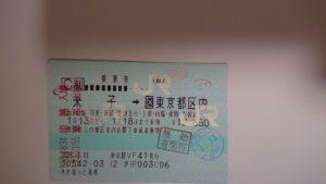 米子から東京までの乗車券